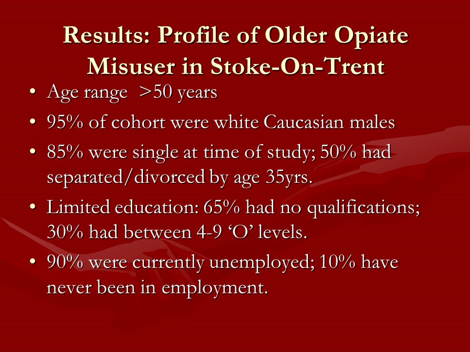 Results: Profile of Older Opiate Misuser in Stoke-On-Trent Age range >50 yearsAge range >50 years 95% of cohort were white Caucasian males95% of cohort were white Caucasian males 85% were single at time of study; 50% had separated/divorced by age 35yrs.85% were single at time of study; 50% had separated/divorced by age 35yrs.