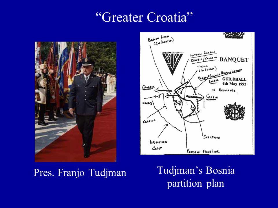 Greater Croatia Tudjman's Bosnia partition plan Pres. Franjo Tudjman