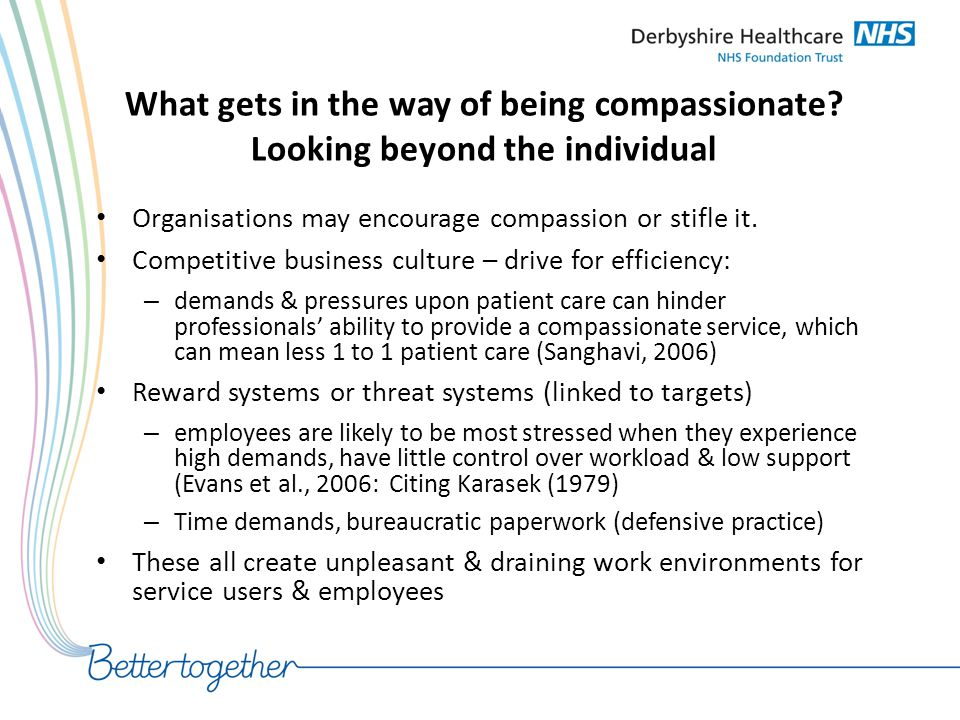 What gets in the way of being compassionate? Looking beyond the individual Organisations may encourage compassion or stifle it. Competitive business c