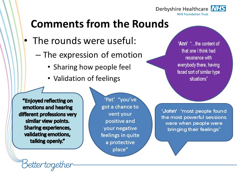 """Comments from the Rounds The rounds were useful: – The expression of emotion Sharing how people feel Validation of feelings 'Pat' """"you've got a chance"""