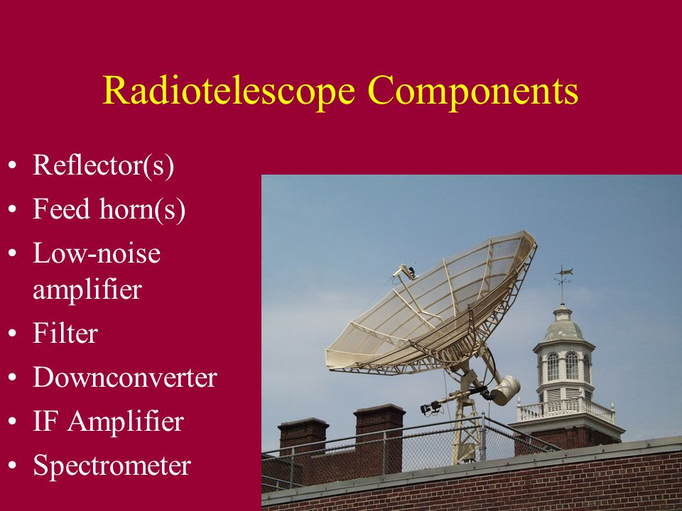 Radiotelescope Components Reflector(s) Feed horn(s) Low-noise amplifier Filter Downconverter IF Amplifier Spectrometer