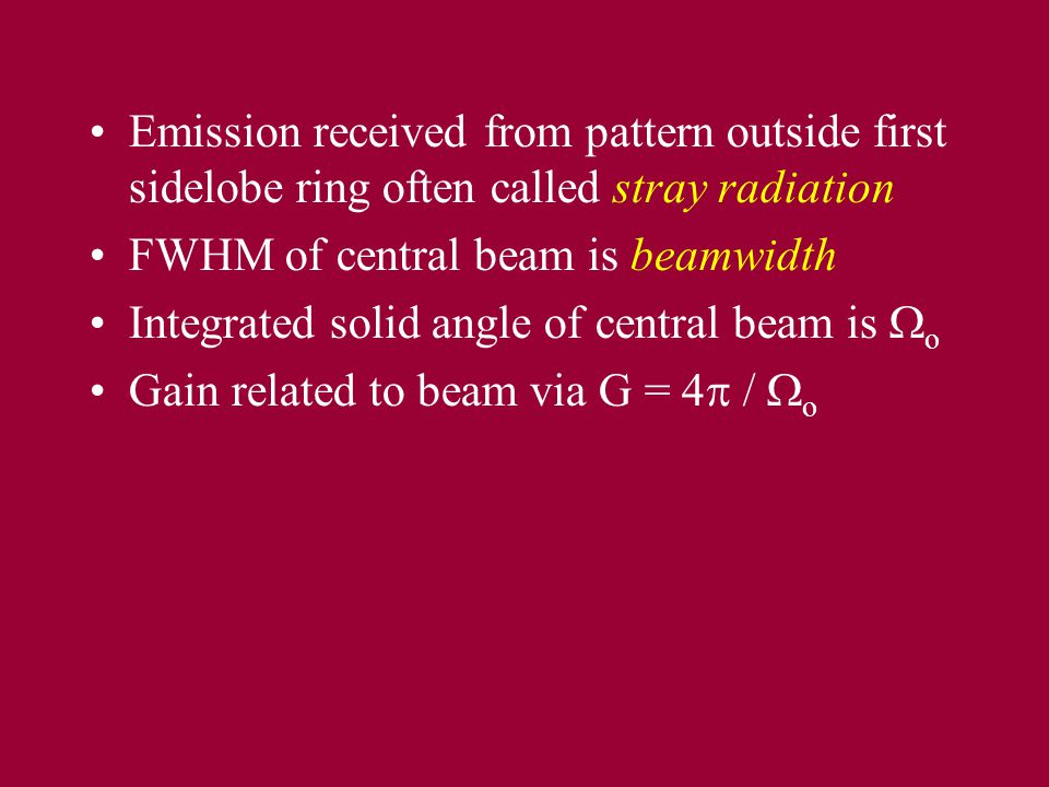 Emission received from pattern outside first sidelobe ring often called stray radiation FWHM of central beam is beamwidth Integrated solid angle of ce