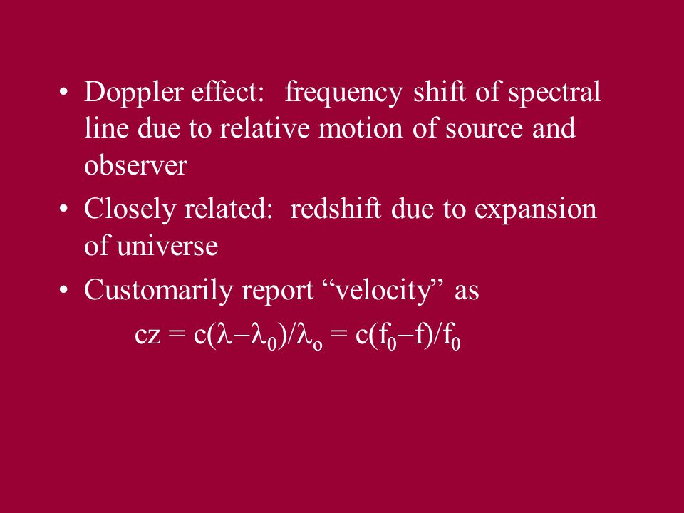 H I spectral line from galaxy shifted by expansion of universe ( recession velocity ) and broadened by rotation Frequency
