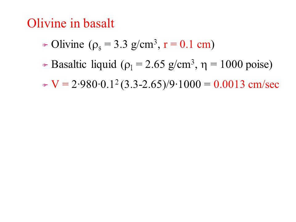 Olivine in basalt   Olivine (  s = 3.3 g/cm 3, r = 0.1 cm)   Basaltic liquid (  l = 2.65 g/cm 3,  = 1000 poise) F F V = 2·980·0.1 2 (3.3-2.65)/9·1000 = 0.0013 cm/sec