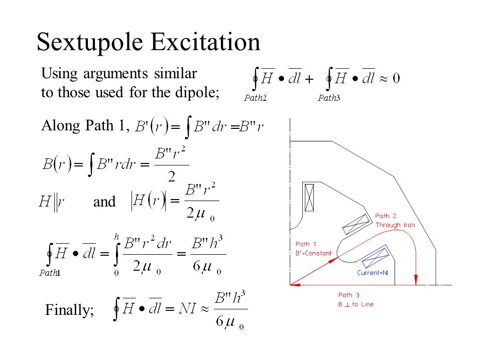 Sextupole Excitation Using arguments similar to those used for the dipole; Along Path 1, and Finally;