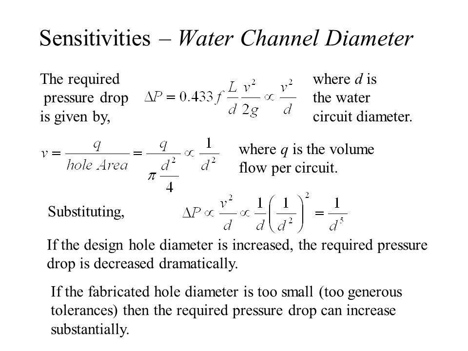 Sensitivities – Water Channel Diameter The required pressure drop is given by, where d is the water circuit diameter.