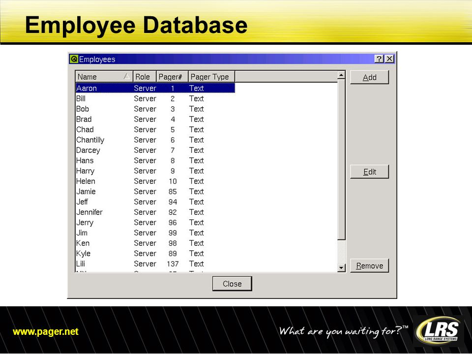 www.pager.net Employee Database