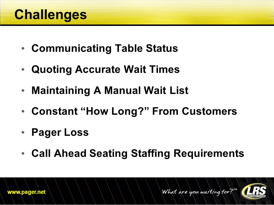 "www.pager.net Challenges Communicating Table Status Quoting Accurate Wait Times Maintaining A Manual Wait List Constant ""How Long?"" From Customers Pag"