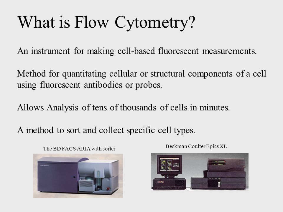 Hardware Components of Flow Cytometer Fluidics - Cells are carried to laser in a saline-based sheath fluid.