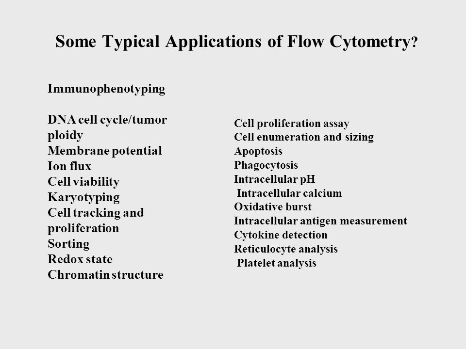 Some Typical Applications of Flow Cytometry .