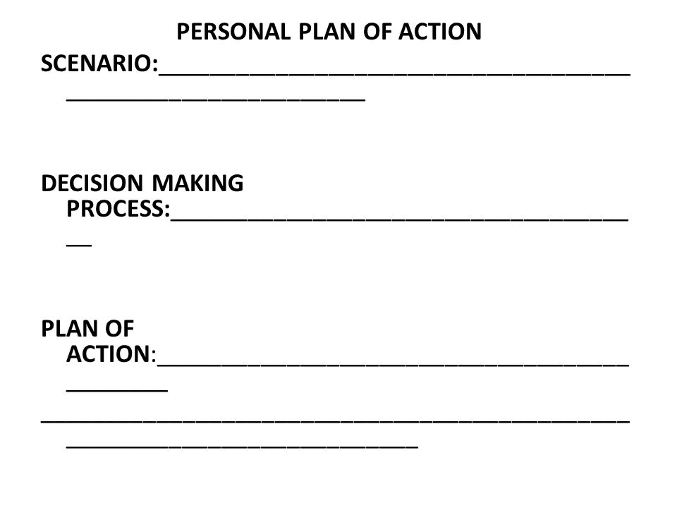 PERSONAL PLAN OF ACTION SCENARIO:____________________________________ _______________________ DECISION MAKING PROCESS:___________________________________ __ PLAN OF ACTION:____________________________________ ________ _____________________________________________ ___________________________