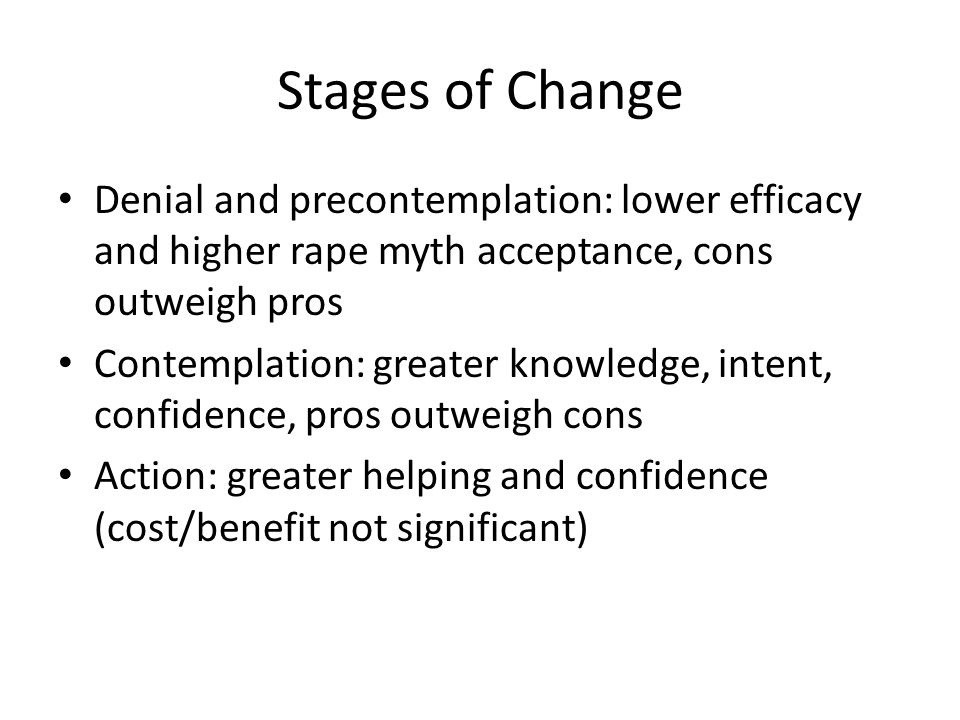Stages of Change Denial and precontemplation: lower efficacy and higher rape myth acceptance, cons outweigh pros Contemplation: greater knowledge, intent, confidence, pros outweigh cons Action: greater helping and confidence (cost/benefit not significant)