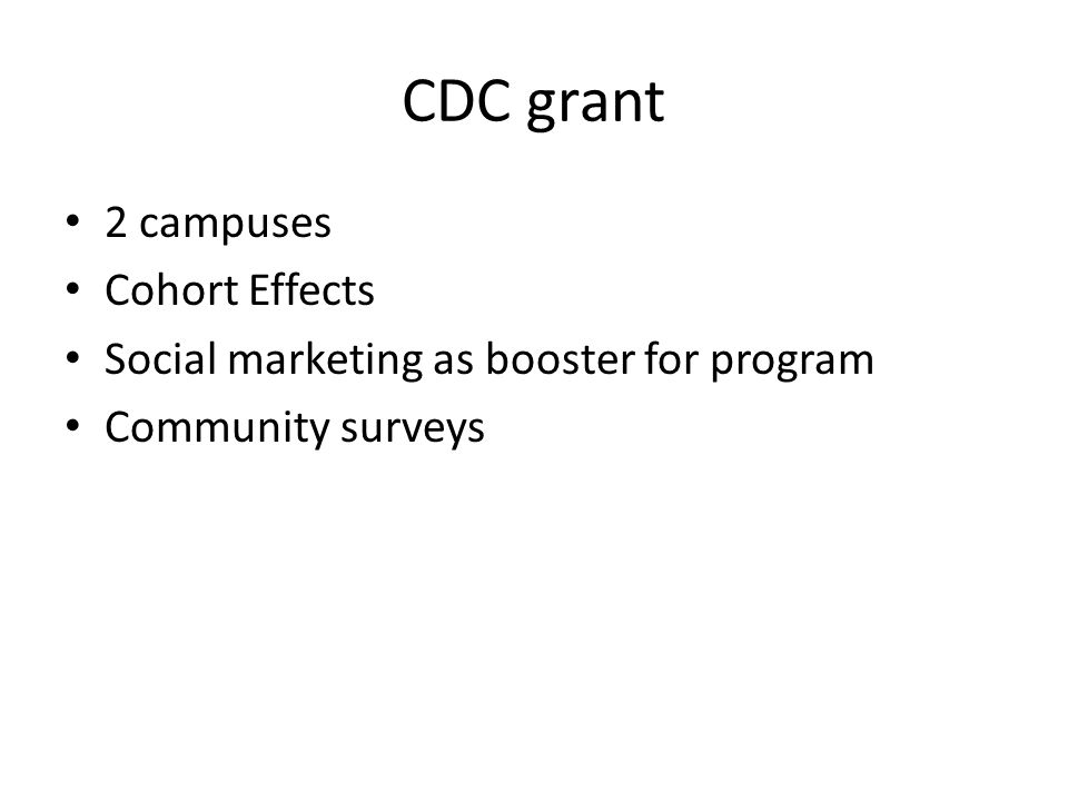 CDC grant 2 campuses Cohort Effects Social marketing as booster for program Community surveys