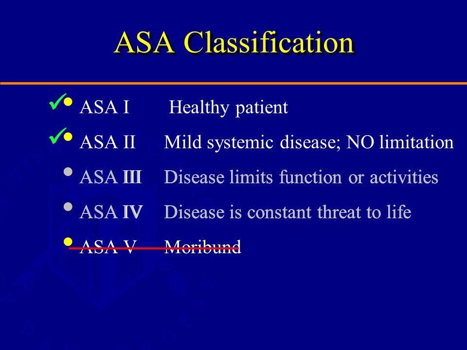 ASA Classification ASA I Healthy patient ASA IIMild systemic disease; NO limitation ASA IIIDisease limits function or activities ASA IVDisease is constant threat to life ASA VMoribund ASA IIIDisease limits function or activities ASA IVDisease is constant threat to life