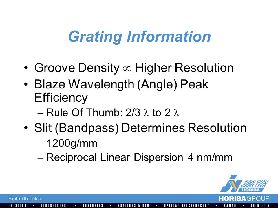 Grating Information Groove Density  Higher Resolution Blaze Wavelength (Angle) Peak Efficiency –Rule Of Thumb: 2/3 to 2 Slit (Bandpass) Determines Resolution –1200g/mm –Reciprocal Linear Dispersion 4 nm/mm