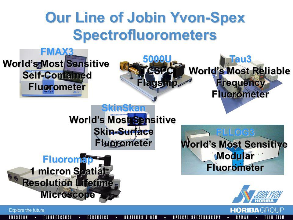 Our Line of Jobin Yvon-Spex Spectrofluorometers FMAX3 World's Most Sensitive Self-ContainedFluorometer 5000UTCSPCFlagshipTau3 World's Most Reliable FrequencyFluorometer FLLOG3 World's Most Sensitive ModularFluorometer SkinSkan Skin-SurfaceFluorometer Fluoromap 1 micron Spatial Resolution Lifetime Microscope