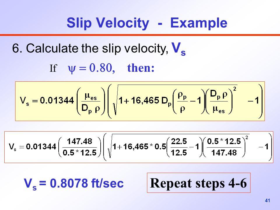41 Slip Velocity - Example 6.