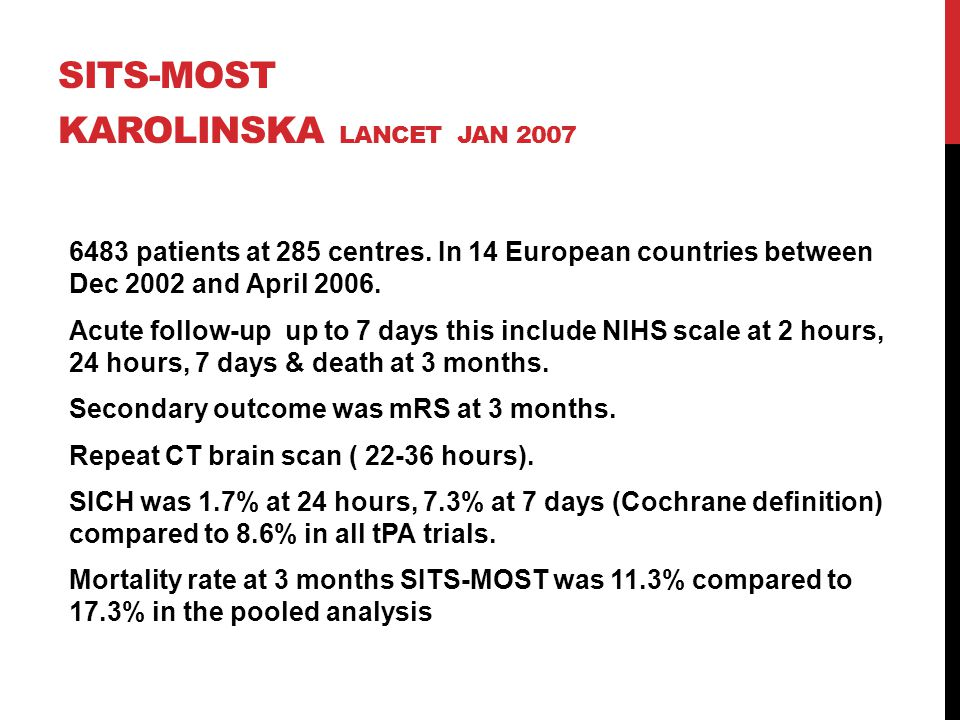 SITS-MOST KAROLINSKA LANCET JAN 2007 6483 patients at 285 centres. In 14 European countries between Dec 2002 and April 2006. Acute follow-up up to 7 d