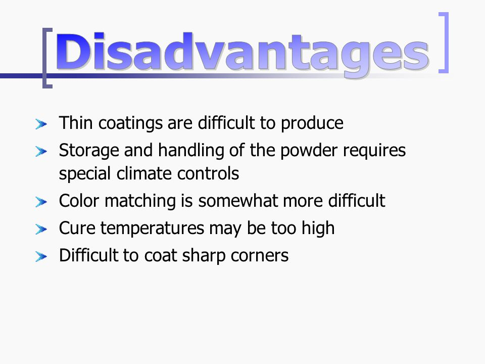Thin coatings are difficult to produce Storage and handling of the powder requires special climate controls Color matching is somewhat more difficult Cure temperatures may be too high Difficult to coat sharp corners