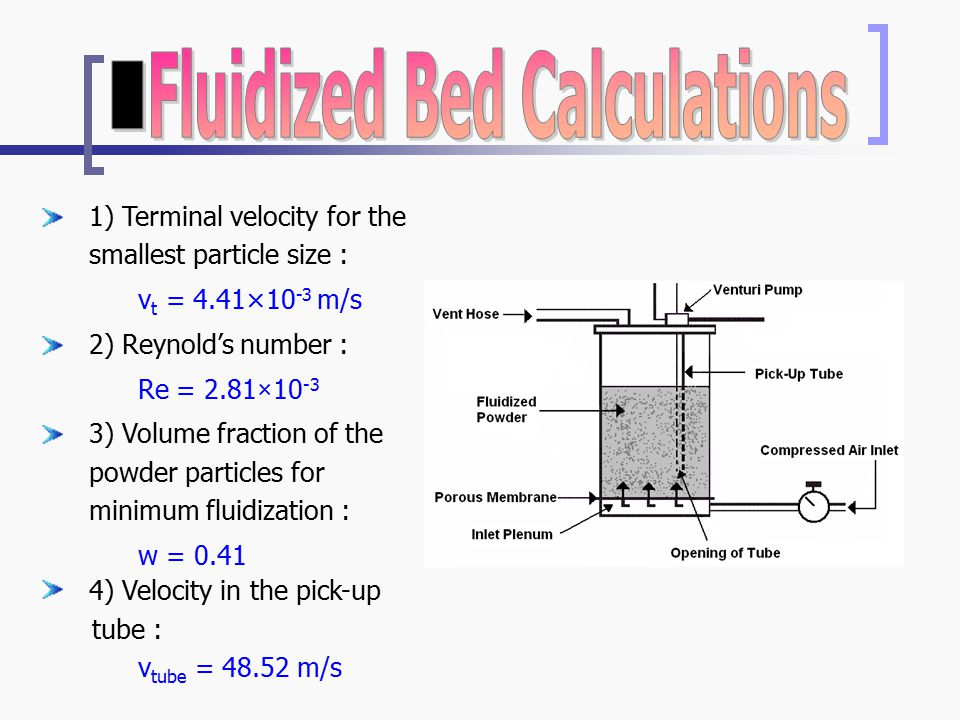 1) Terminal velocity for the smallest particle size : v t = 4.41×10 -3 m/s 2) Reynold's number : Re = 2.81×10 -3 3) Volume fraction of the powder particles for minimum fluidization : w = 0.41 4) Velocity in the pick-up tube : v tube = 48.52 m/s
