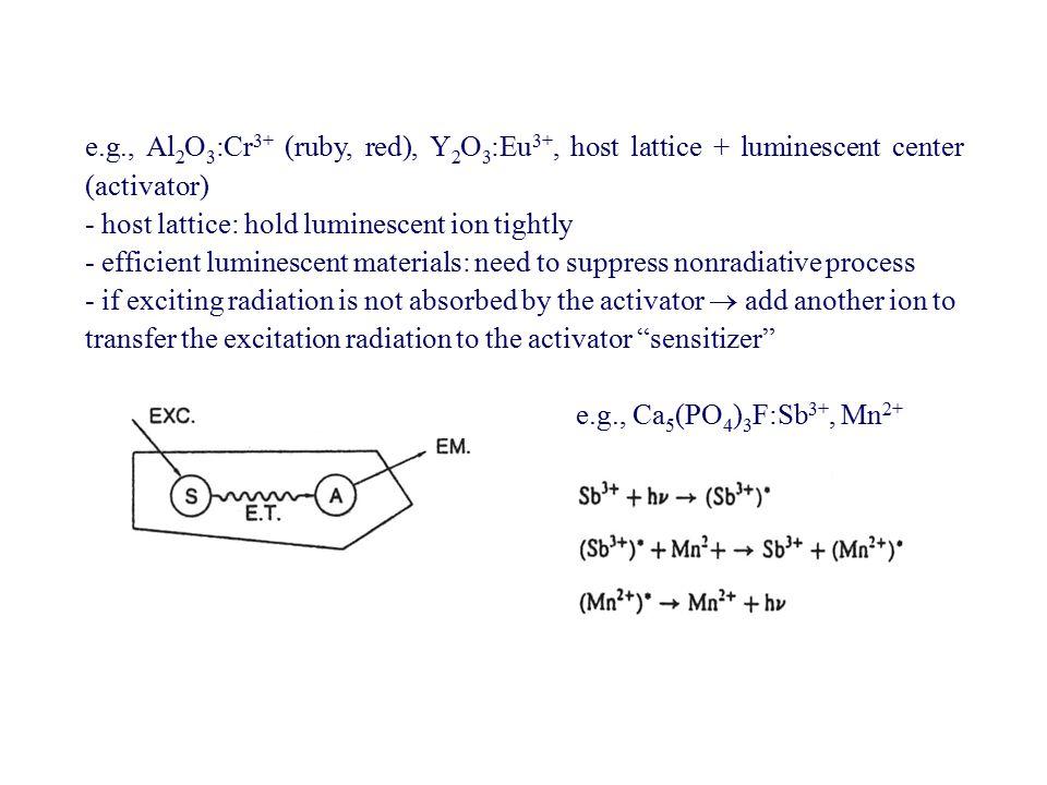 e.g., Al 2 O 3 :Cr 3+ (ruby, red), Y 2 O 3 :Eu 3+, host lattice + luminescent center (activator) - host lattice: hold luminescent ion tightly - effici