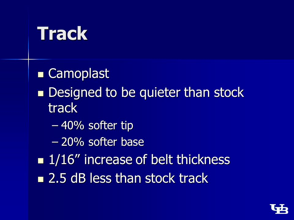 Track Camoplast Camoplast Designed to be quieter than stock track Designed to be quieter than stock track –40% softer tip –20% softer base 1/16 increase of belt thickness 1/16 increase of belt thickness 2.5 dB less than stock track 2.5 dB less than stock track