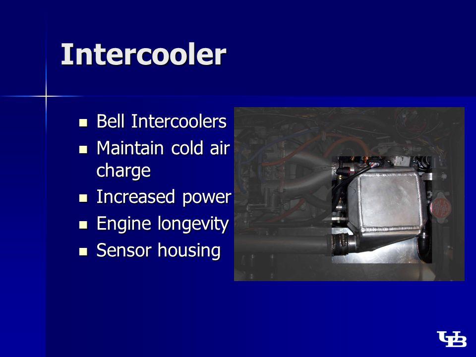 Intercooler Bell Intercoolers Bell Intercoolers Maintain cold air charge Maintain cold air charge Increased power Increased power Engine longevity Engine longevity Sensor housing Sensor housing