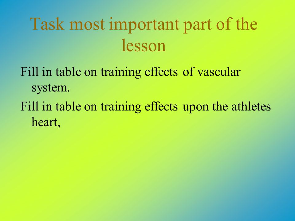 Task most important part of the lesson Fill in table on training effects of vascular system.