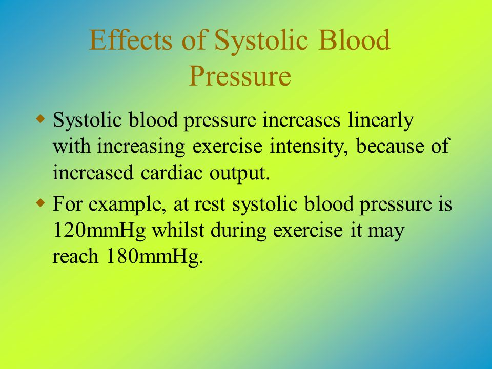 Effects of Systolic Blood Pressure  Systolic blood pressure increases linearly with increasing exercise intensity, because of increased cardiac output.