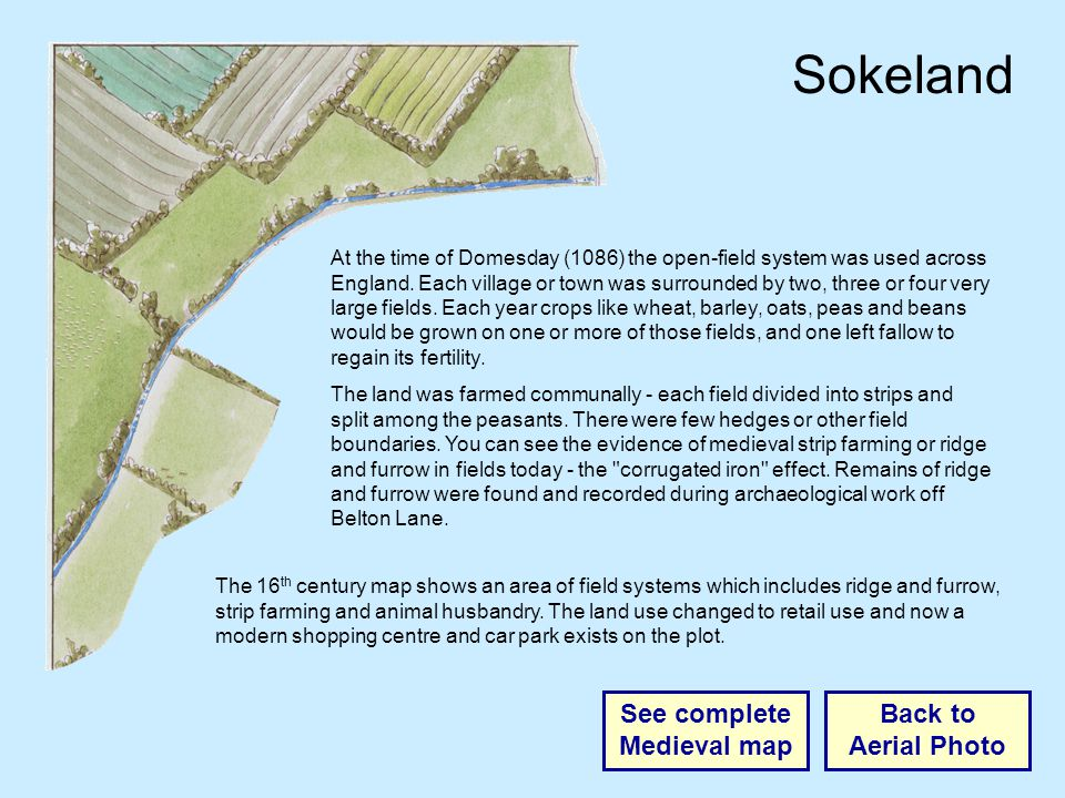 Sokeland Back to Aerial Photo See complete Medieval map At the time of Domesday (1086) the open-field system was used across England.