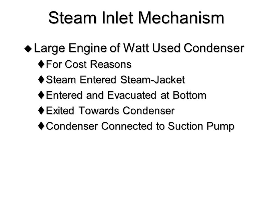 Inlet Mechanism - Single Acting Engine