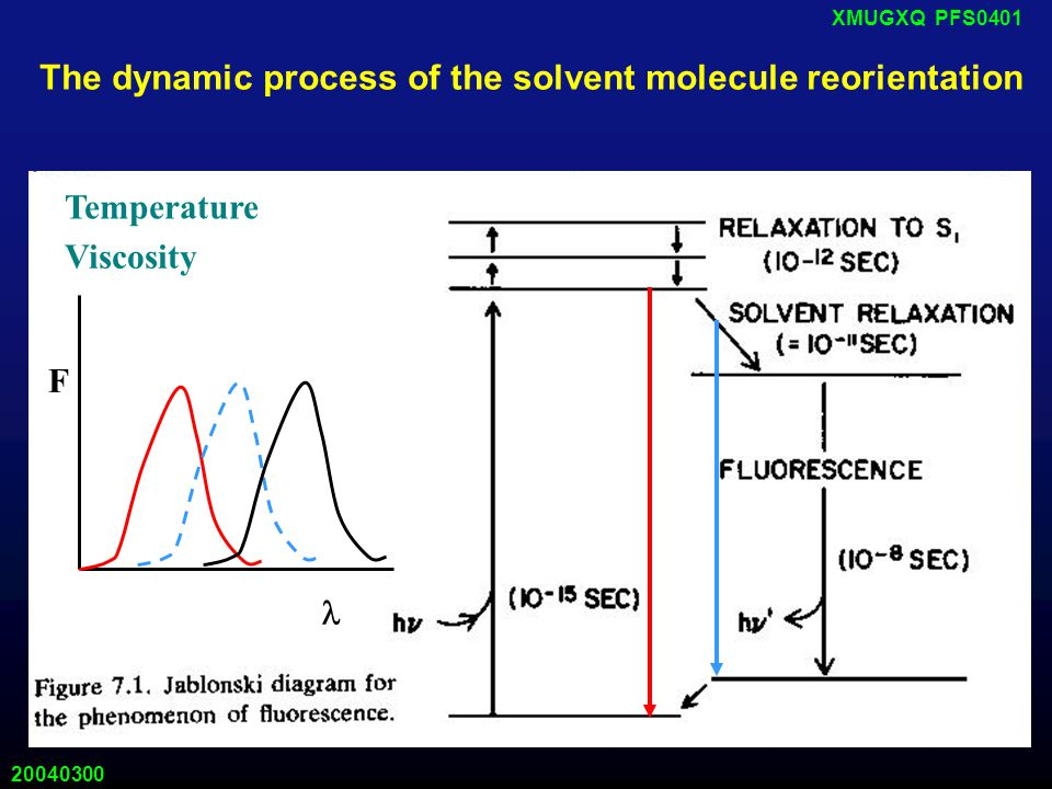 20040300 XMUGXQ PFS0401 The dynamic process of the solvent molecule reorientation Temperature Viscosity F