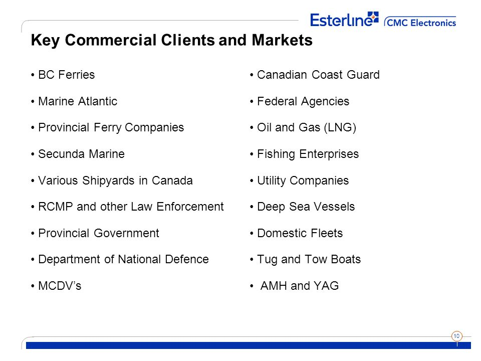 10 Key Commercial Clients and Markets BC Ferries Marine Atlantic Provincial Ferry Companies Secunda Marine Various Shipyards in Canada RCMP and other