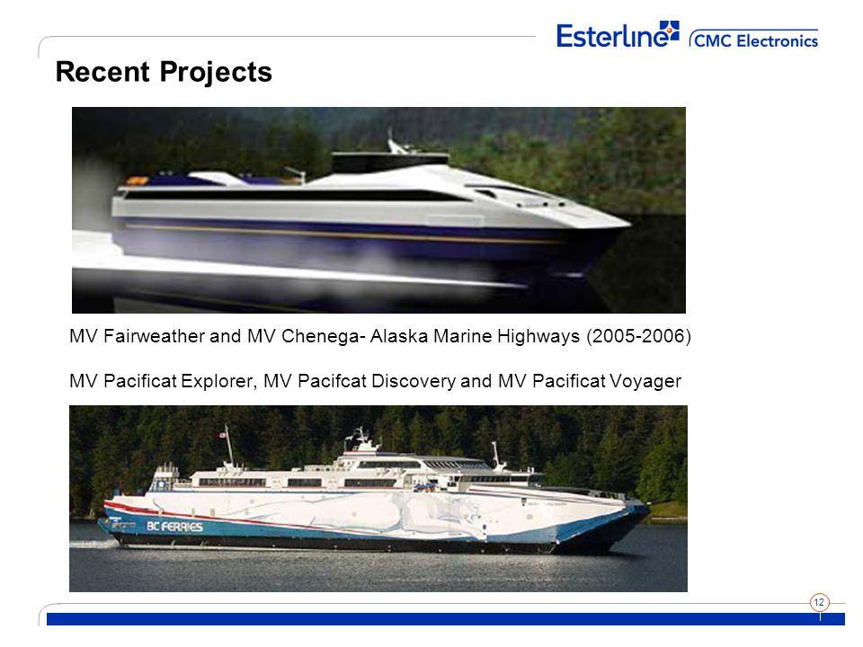 12 Recent Projects MV Fairweather and MV Chenega- Alaska Marine Highways (2005-2006) MV Pacificat Explorer, MV Pacifcat Discovery and MV Pacificat Voyager