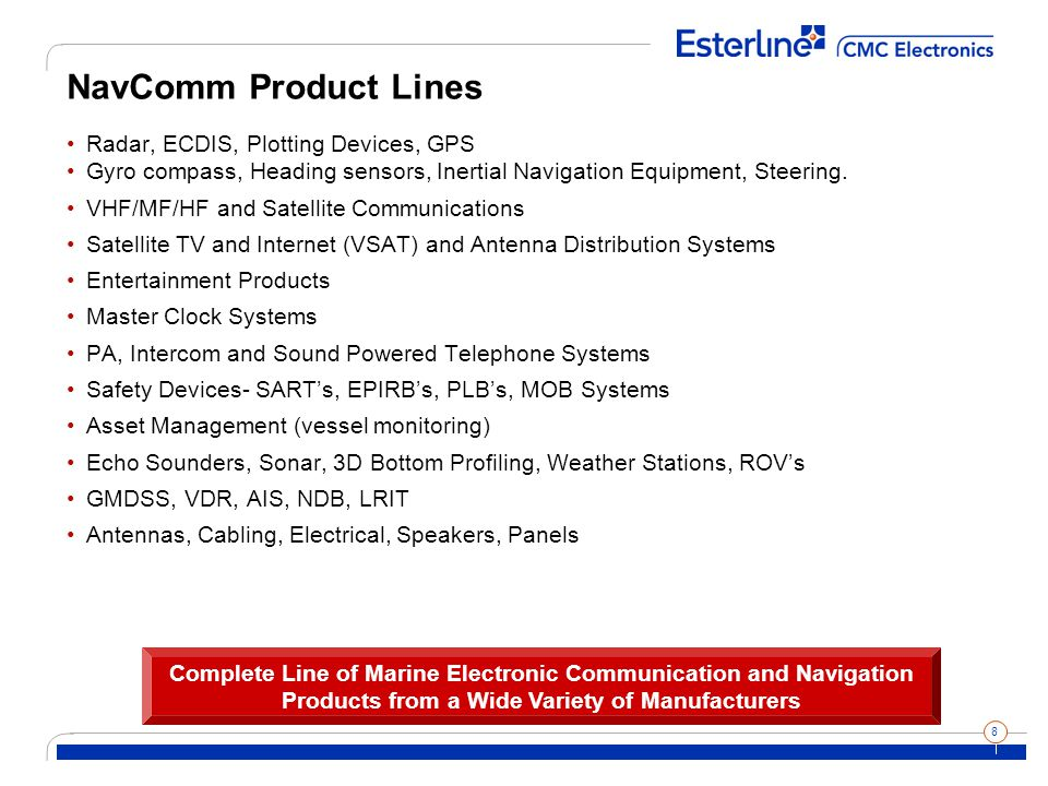 8 NavComm Product Lines Radar, ECDIS, Plotting Devices, GPS Gyro compass, Heading sensors, Inertial Navigation Equipment, Steering.