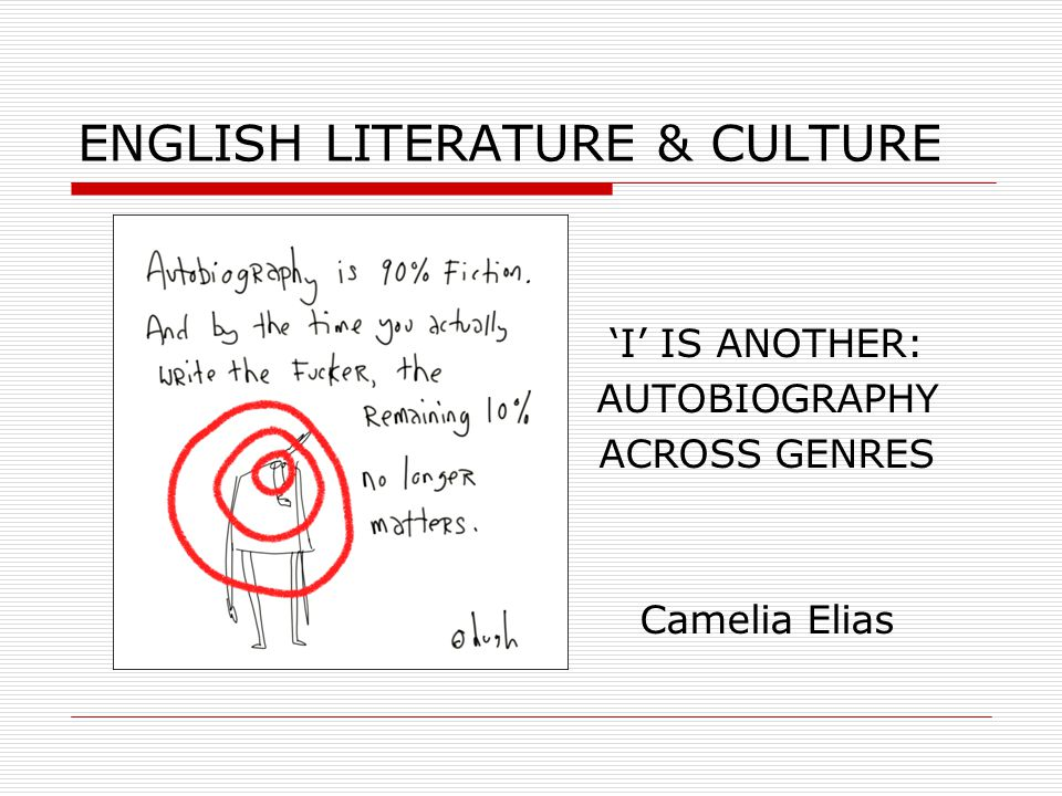 ENGLISH LITERATURE & CULTURE 'I' IS ANOTHER: AUTOBIOGRAPHY ACROSS GENRES Camelia Elias
