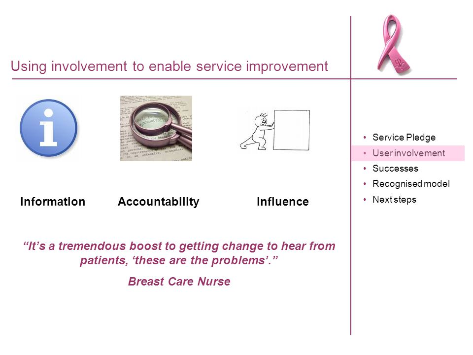 Service Pledge User involvement Successes Recognised model Next steps Using involvement to enable service improvement Information AccountabilityInflue