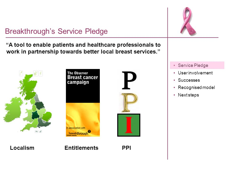 "Service Pledge User involvement Successes Recognised model Next steps Breakthrough's Service Pledge ""A tool to enable patients and healthcare professi"