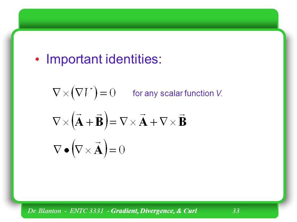Dr. Blanton - ENTC 3331 - Gradient, Divergence, & Curl 32 Example