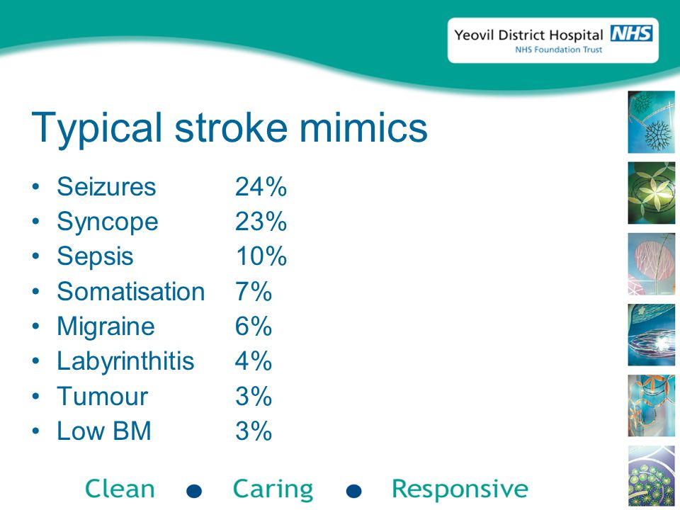 Typical stroke mimics Seizures24% Syncope23% Sepsis10% Somatisation7% Migraine6% Labyrinthitis4% Tumour3% Low BM3%