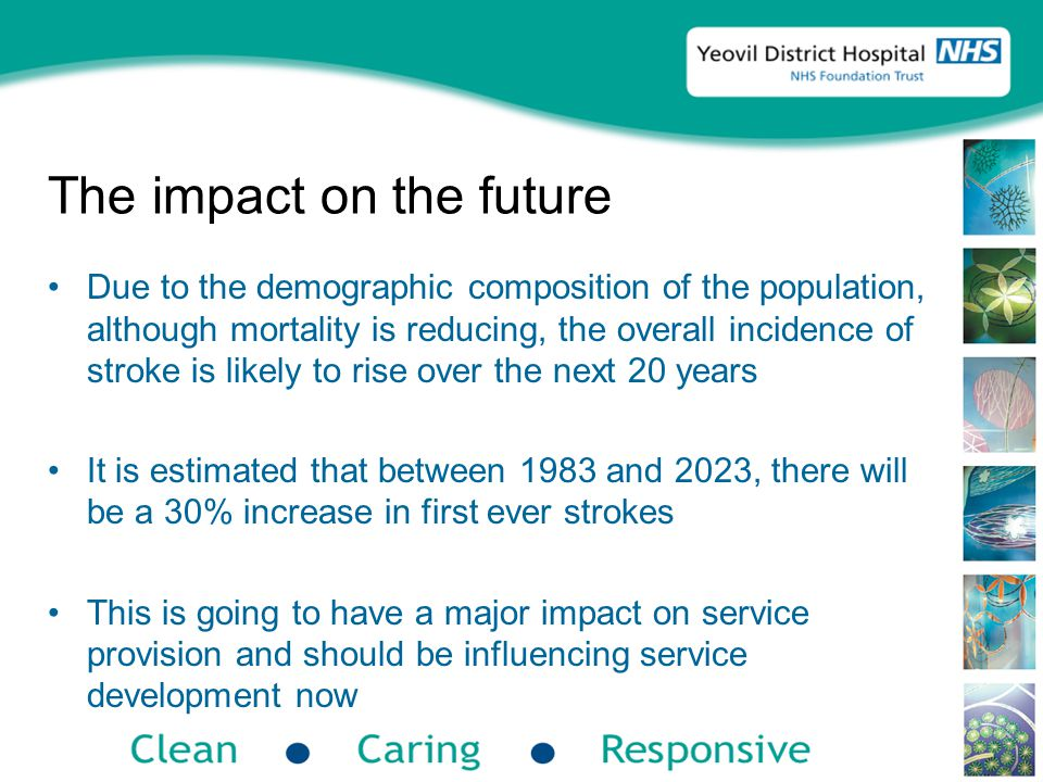 The impact on the future Due to the demographic composition of the population, although mortality is reducing, the overall incidence of stroke is likely to rise over the next 20 years It is estimated that between 1983 and 2023, there will be a 30% increase in first ever strokes This is going to have a major impact on service provision and should be influencing service development now