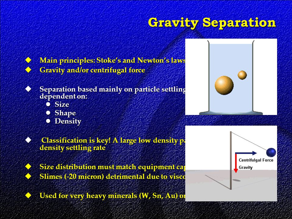 Gravity Separation  Main principles: Stoke's and Newton's laws  Gravity and/or centrifugal force  Separation based mainly on particle settling rate, which is in turn dependent on: Size Size Shape Shape Density Density  Classification is key.