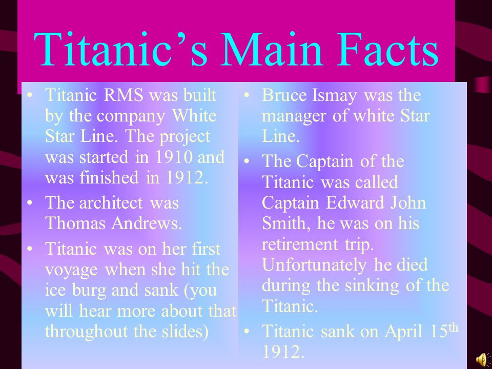 Captain Smith Captain Smith was born on the 27 th January 1850 and died on the night Titanic sank he was 62 years old.