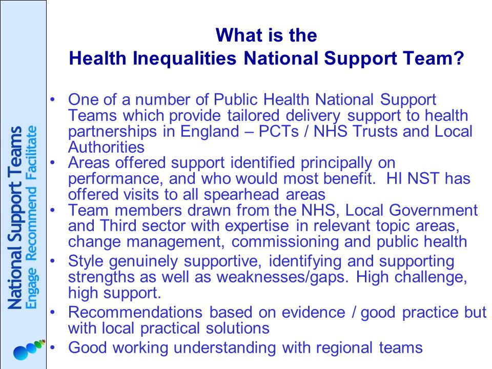 What is the Health Inequalities National Support Team.