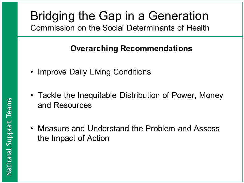National Support Teams Bridging the Gap in a Generation Commission on the Social Determinants of Health Overarching Recommendations Improve Daily Living Conditions Tackle the Inequitable Distribution of Power, Money and Resources Measure and Understand the Problem and Assess the Impact of Action