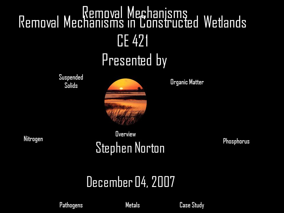 Removal Mechanisms in Constructed Wetlands CE 421 Presented by Stephen Norton December 04, 2007 Suspended Solids Organic Matter Nitrogen Phosphorus Ca