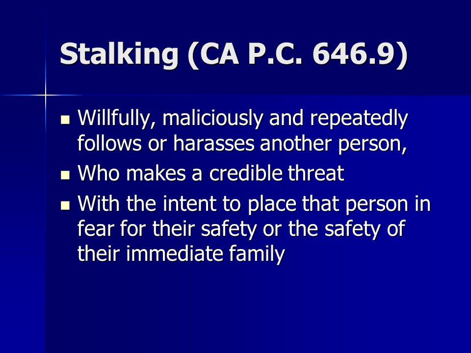 Stalking (CA P.C.