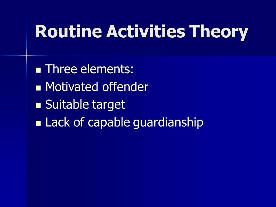 Routine Activities Theory Three elements: Three elements: Motivated offender Motivated offender Suitable target Suitable target Lack of capable guardianship Lack of capable guardianship