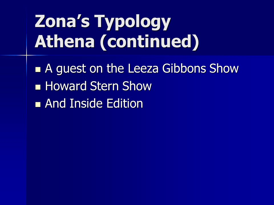 Zona's Typology Athena (continued) A guest on the Leeza Gibbons Show A guest on the Leeza Gibbons Show Howard Stern Show Howard Stern Show And Inside Edition And Inside Edition