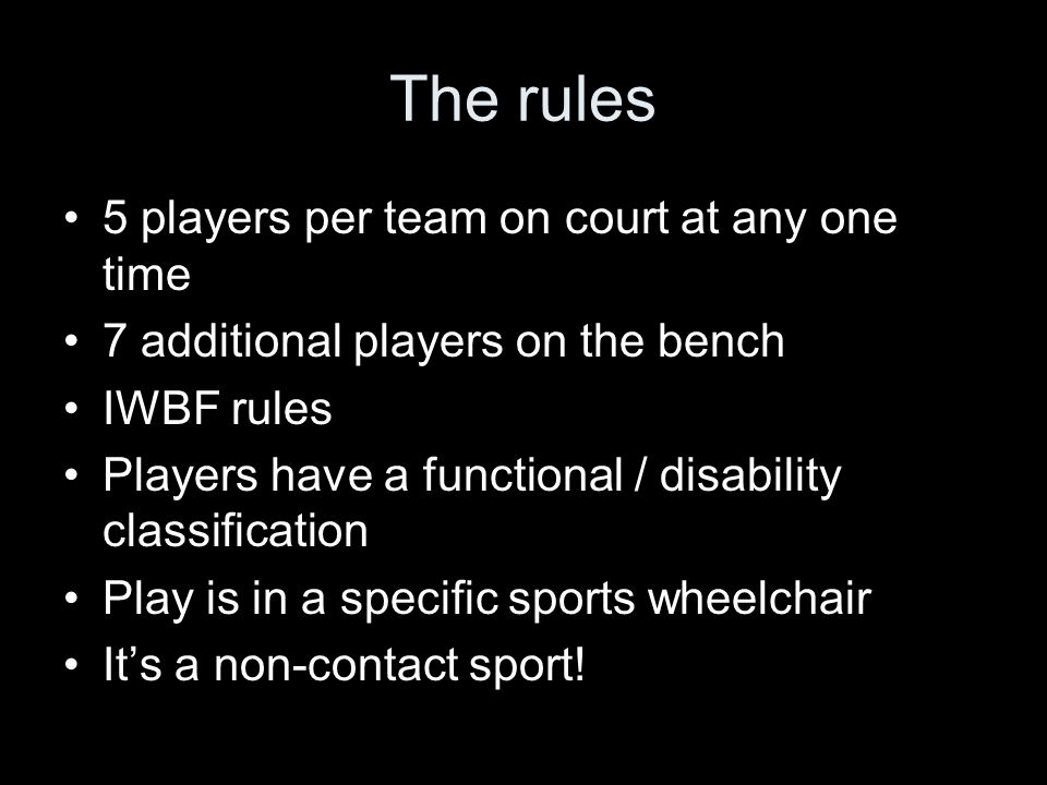 Classification Disability is graded and scored between 1 and 4.5 points per player Only 14 points in total are allowed on court at any one time Disabilities vary although usually little UL functional deficit xxxxxxxxxxxxxxxxxx